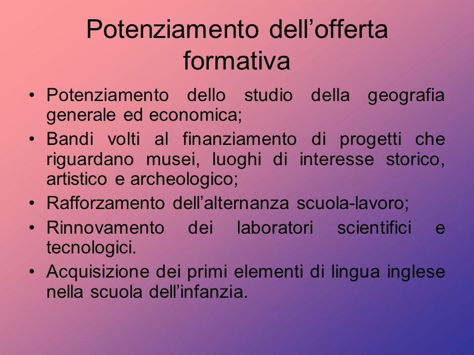 Potenziamento dellofferta formativa Potenziamento dello studio della geografia generale ed economica; Bandi volti al finanziamento di progetti che rig