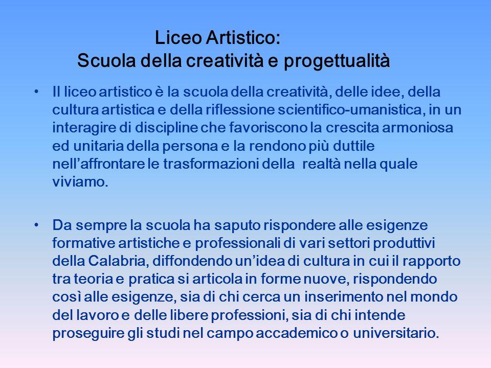 Liceo Artistico: Scuola della creatività e progettualità Il liceo artistico è la scuola della creatività, delle idee, della cultura artistica e della