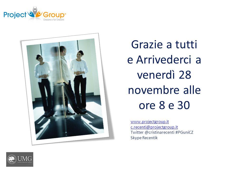 Grazie a tutti e Arrivederci a venerdì 28 novembre alle ore 8 e 30 www.projectgroup.it c.recenti@projectgroup.it Twitter @cristinarecenti #PGuniCZ Sky