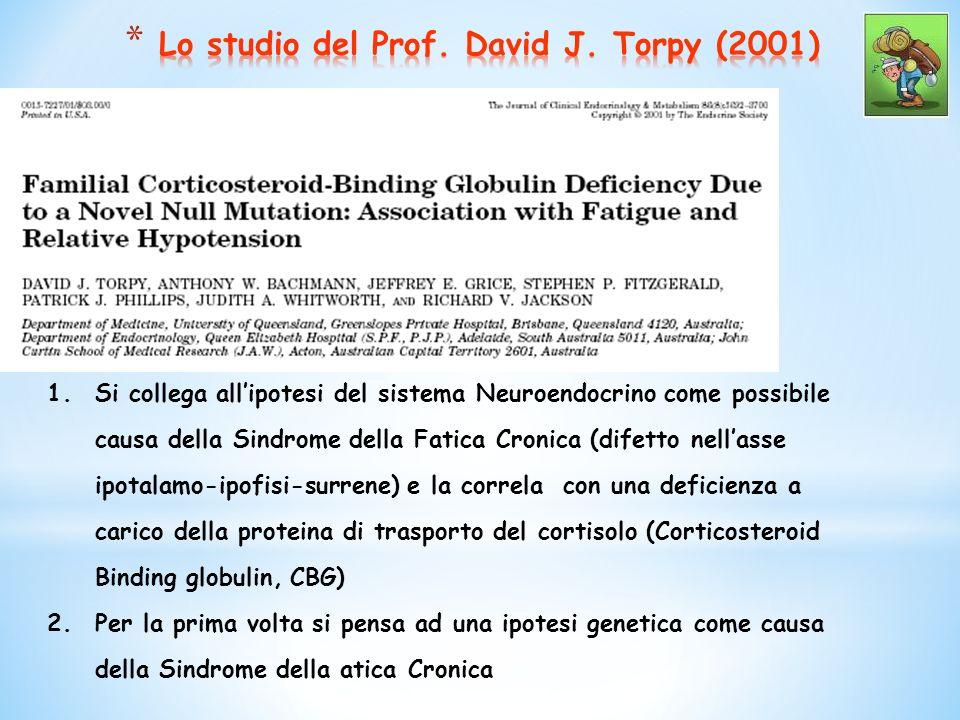 1.Si collega allipotesi del sistema Neuroendocrino come possibile causa della Sindrome della Fatica Cronica (difetto nellasse ipotalamo-ipofisi-surrene) e la correla con una deficienza a carico della proteina di trasporto del cortisolo (Corticosteroid Binding globulin, CBG) 2.Per la prima volta si pensa ad una ipotesi genetica come causa della Sindrome della atica Cronica
