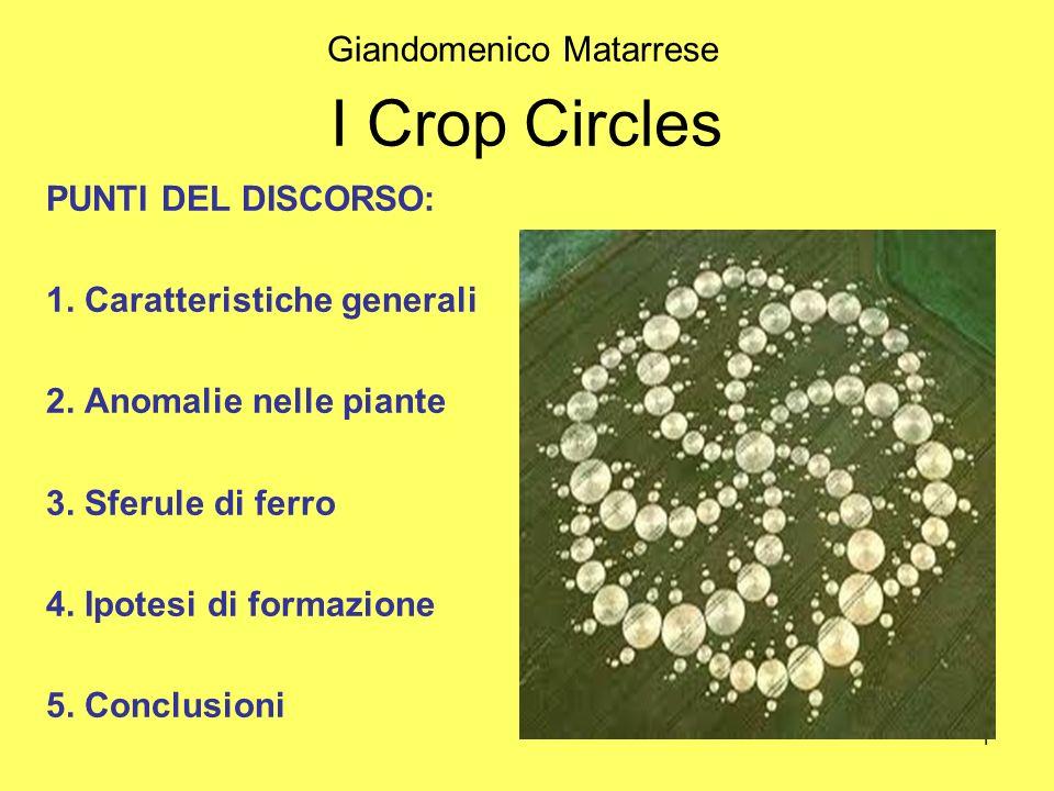 1 I Crop Circles PUNTI DEL DISCORSO: 1. Caratteristiche generali 2. Anomalie nelle piante 3. Sferule di ferro 4. Ipotesi di formazione 5. Conclusioni