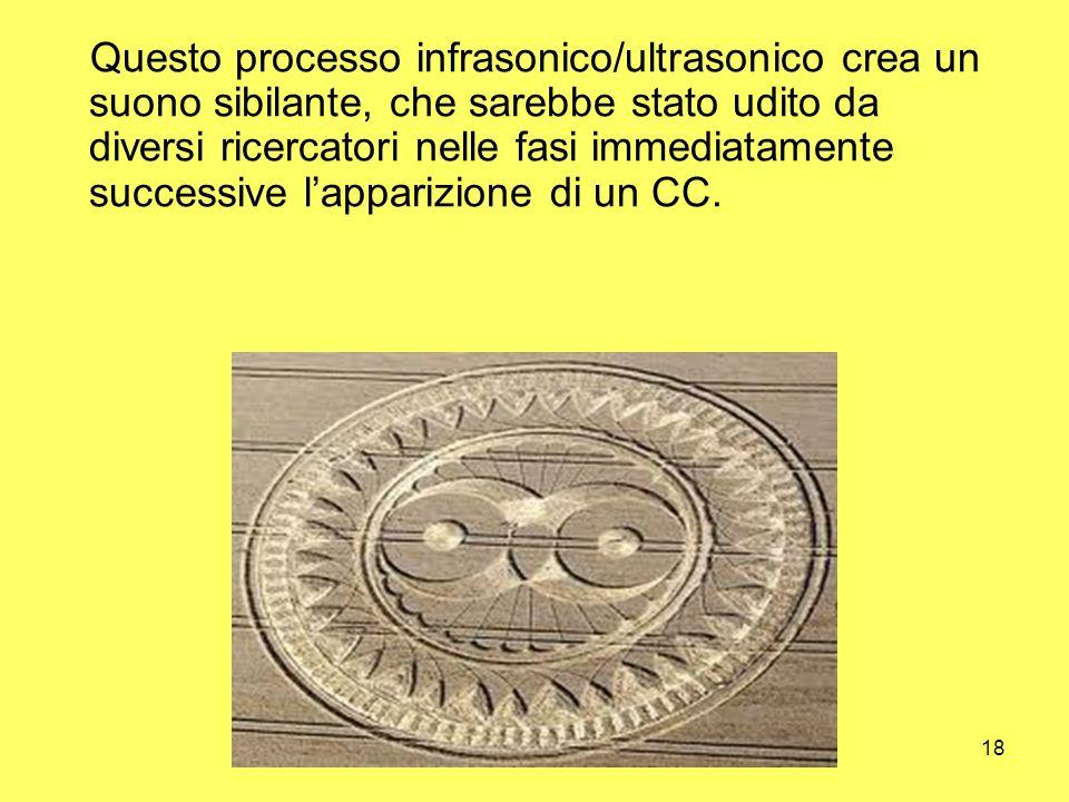 18 Questo processo infrasonico/ultrasonico crea un suono sibilante, che sarebbe stato udito da diversi ricercatori nelle fasi immediatamente successiv