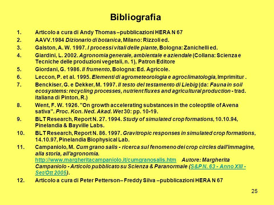 25 Bibliografia 1.Articolo a cura di Andy Thomas –pubblicazioni HERA N 67 2.AAVV.1984 Dizionario di botanica, Milano: Rizzoli ed. 3.Galston, A. W. 199