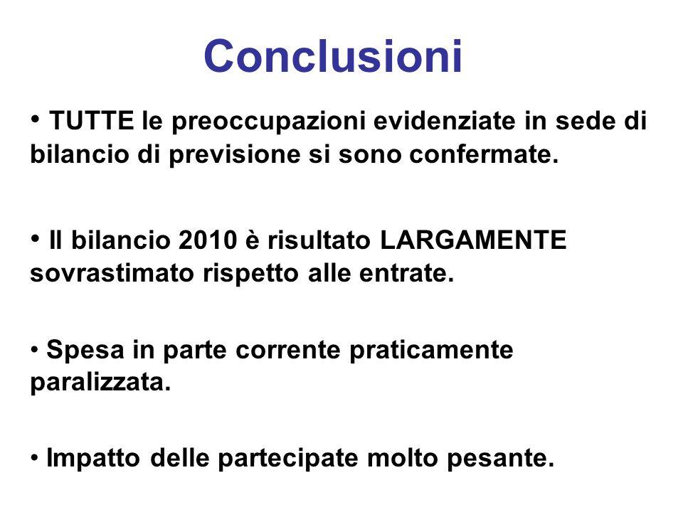 Conclusioni TUTTE le preoccupazioni evidenziate in sede di bilancio di previsione si sono confermate.