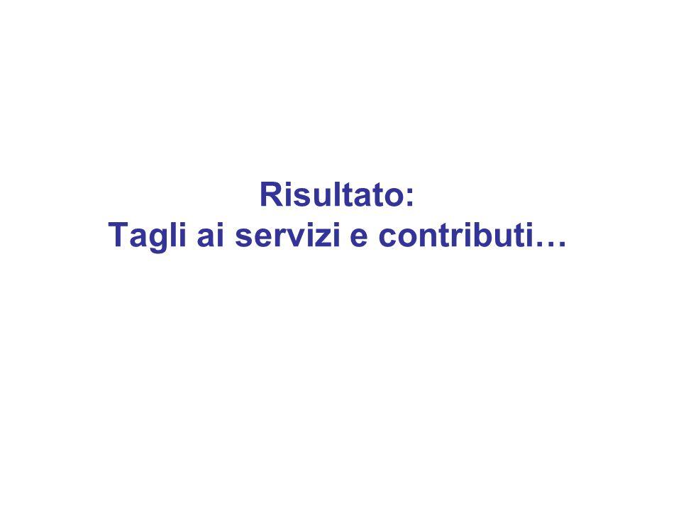 Risultato: Tagli ai servizi e contributi…