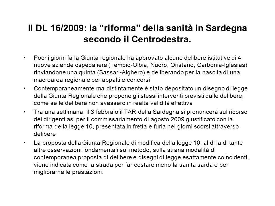 Il DL 16/2009: la riforma della sanità in Sardegna secondo il Centrodestra. Pochi giorni fa la Giunta regionale ha approvato alcune delibere istitutiv