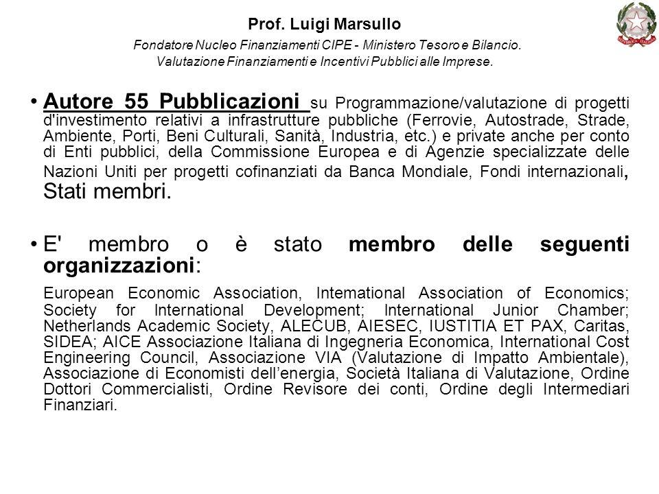 Prof. Luigi Marsullo Fondatore Nucleo Finanziamenti CIPE - Ministero Tesoro e Bilancio. Valutazione Finanziamenti e Incentivi Pubblici alle Imprese. A