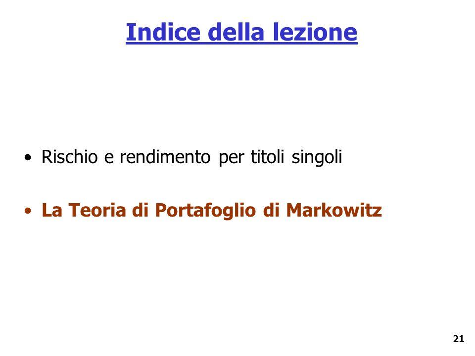 21 Indice della lezione Rischio e rendimento per titoli singoli La Teoria di Portafoglio di Markowitz