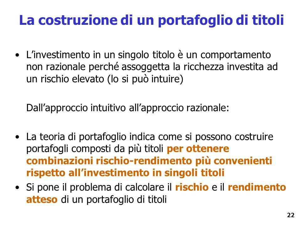 22 La costruzione di un portafoglio di titoli Linvestimento in un singolo titolo è un comportamento non razionale perché assoggetta la ricchezza inves