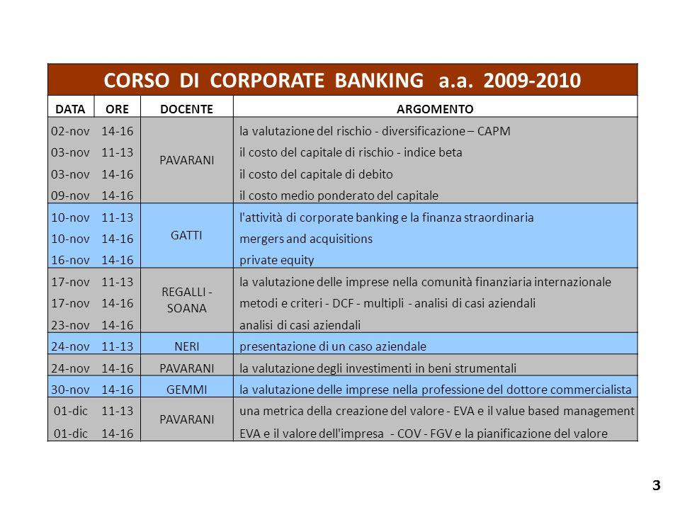 3 CORSO DI CORPORATE BANKING a.a. 2009-2010 DATAOREDOCENTEARGOMENTO 02-nov14-16 PAVARANI la valutazione del rischio - diversificazione – CAPM 03-nov11