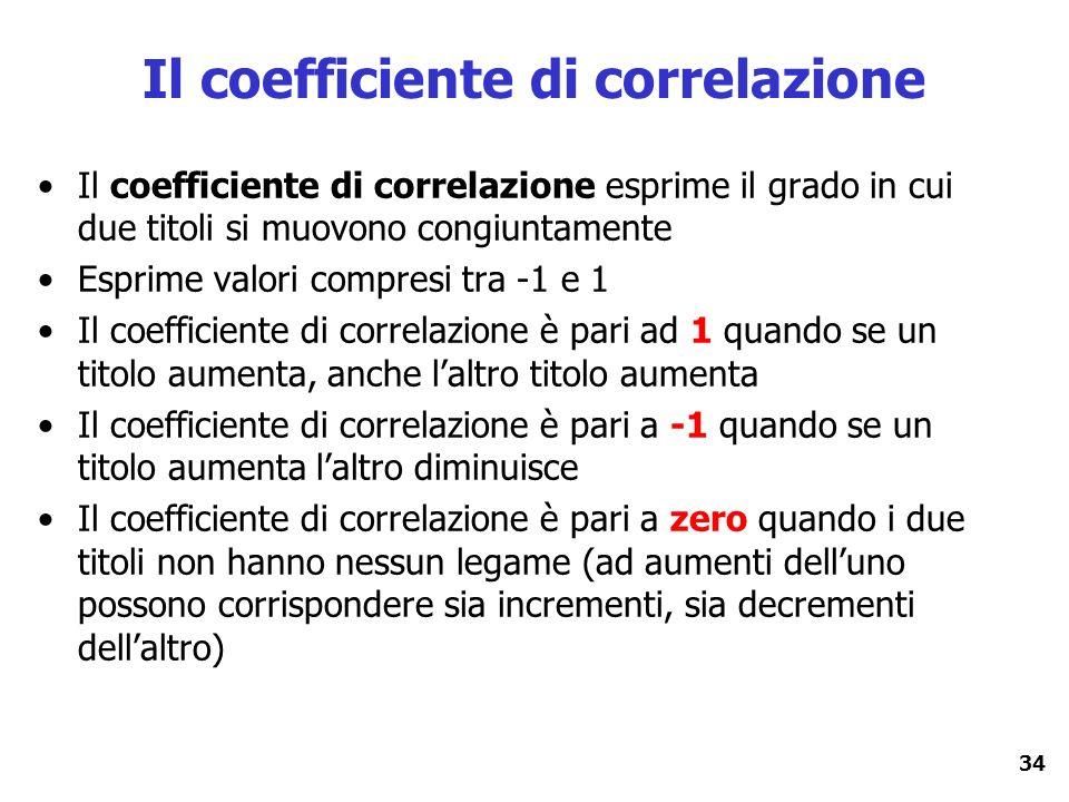 34 Il coefficiente di correlazione Il coefficiente di correlazione esprime il grado in cui due titoli si muovono congiuntamente Esprime valori compres