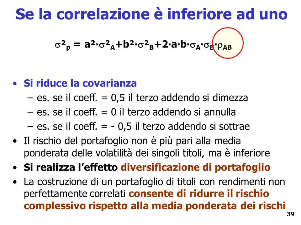 39 Se la correlazione è inferiore ad uno ² p = a² ² A +b² ² B +2ab A B AB Si riduce la covarianza –es. se il coeff. = 0,5 il terzo addendo si dimezza