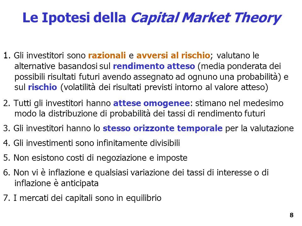8 1. Gli investitori sono razionali e avversi al rischio; valutano le alternative basandosi sul rendimento atteso (media ponderata dei possibili risul