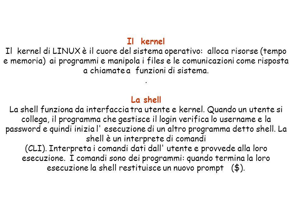 Il kernel Il kernel di LINUX è il cuore del sistema operativo: alloca risorse (tempo e memoria) ai programmi e manipola i files e le comunicazioni come risposta a chiamate a funzioni di sistema..