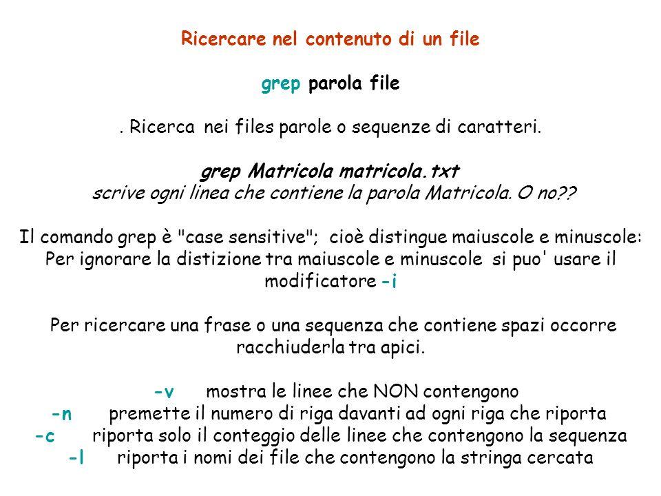 Ricercare nel contenuto di un file grep parola file.