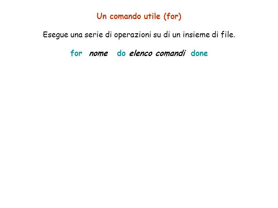 Un comando utile (for) Esegue una serie di operazioni su di un insieme di file.
