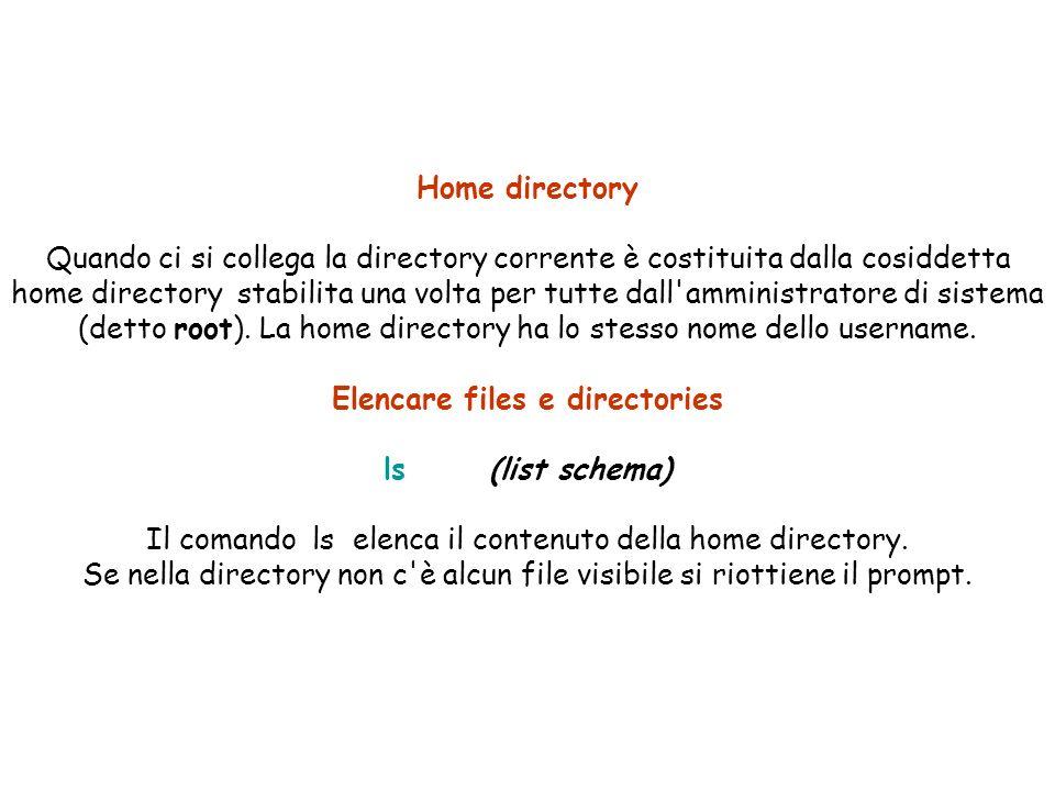 Home directory Quando ci si collega la directory corrente è costituita dalla cosiddetta home directory stabilita una volta per tutte dall amministratore di sistema (detto root).