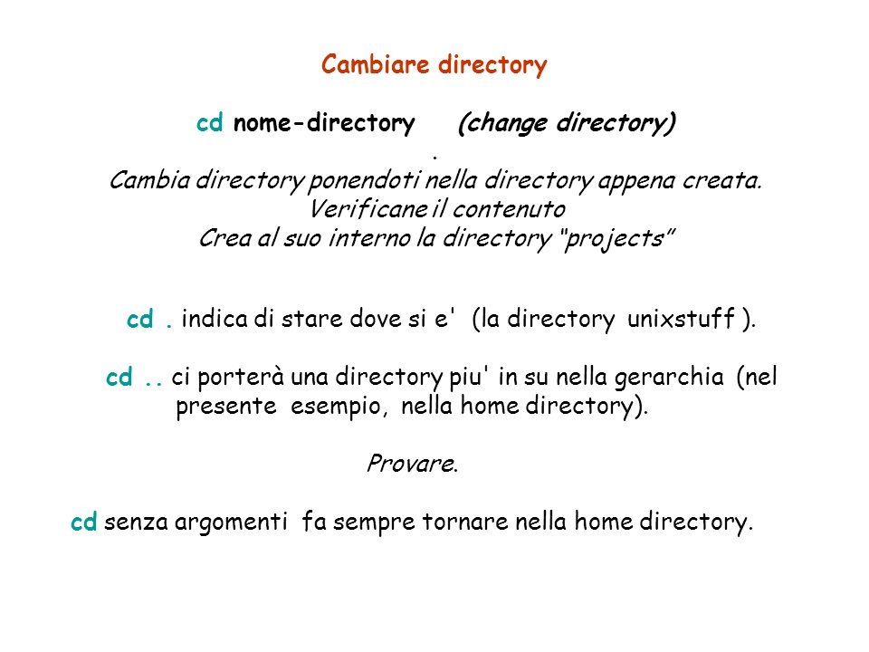 Cambiare directory cd nome-directory(change directory).