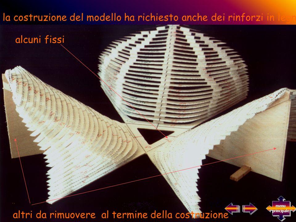 la costruzione del modello ha richiesto anche dei rinforzi in legno alcuni fissi altri da rimuovere al termine della costruzione menu principale menu principale