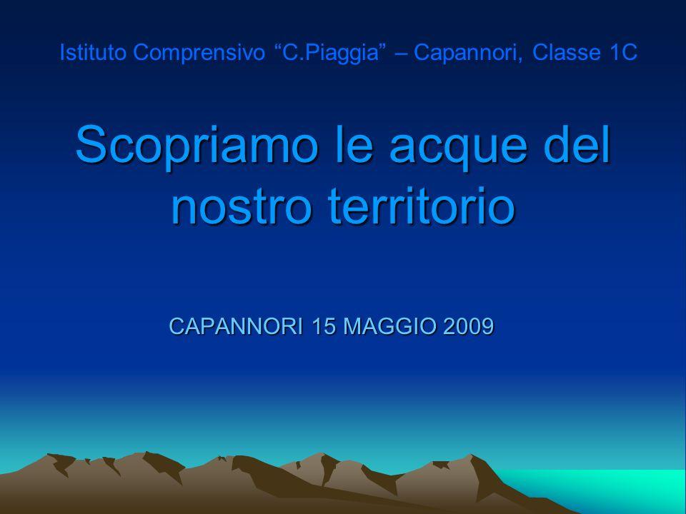 Scopriamo le acque del nostro territorio CAPANNORI 15 MAGGIO 2009 Istituto Comprensivo C.Piaggia – Capannori, Classe 1C