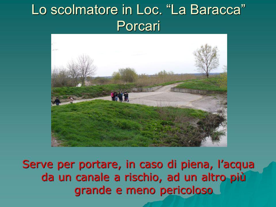 Lo scolmatore in Loc. La Baracca Porcari Serve per portare, in caso di piena, lacqua da un canale a rischio, ad un altro più grande e meno pericoloso