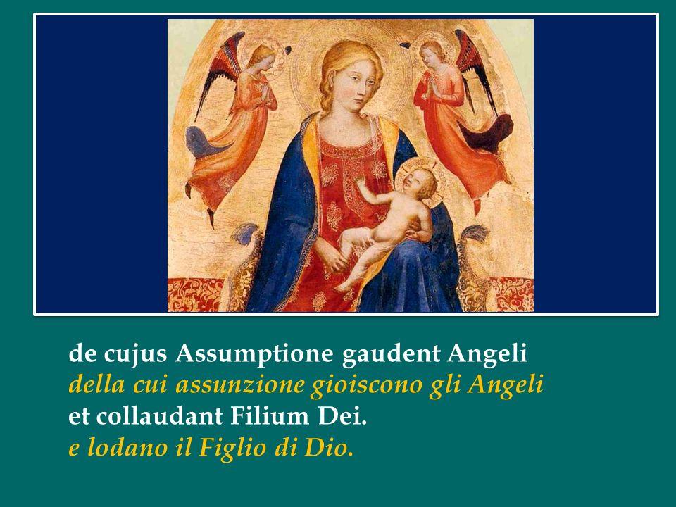 Gaudeamus omnes in Domino diem festum celebrantes Rallegriamoci tutti nel Signore, celebrando un giorno di festa sub honore beatae Mariae Virginis, in onore della Beata Vergine Maria,