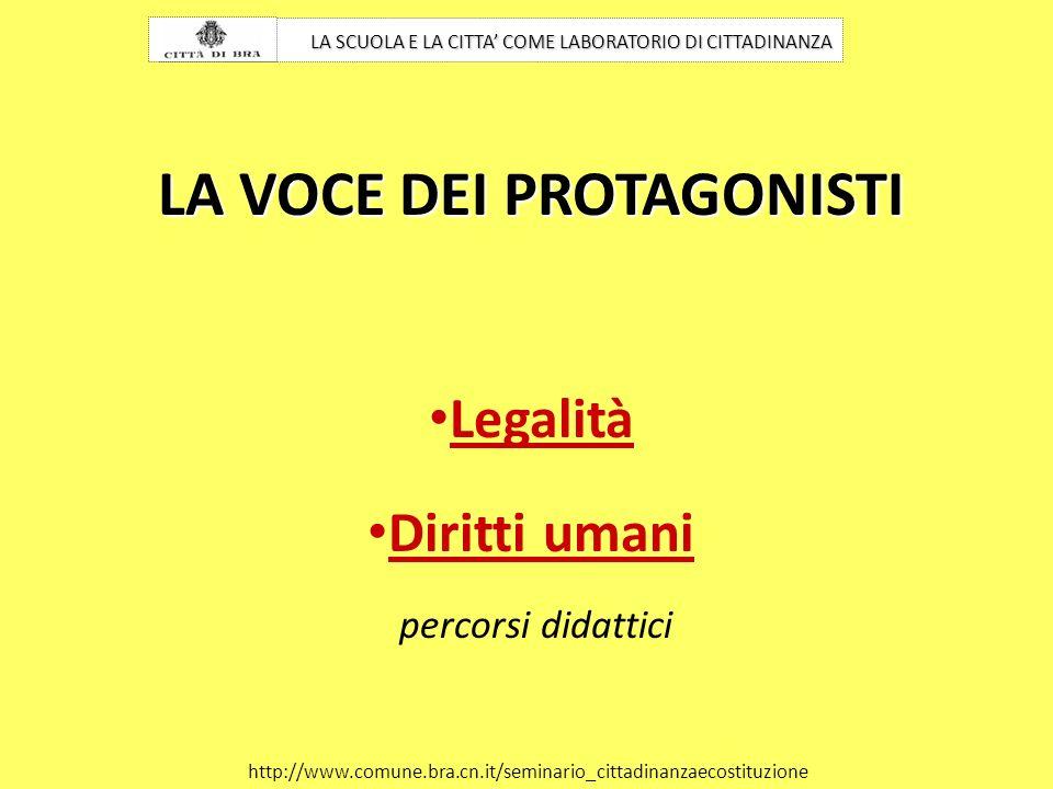 LA SCUOLA E LA CITTA COME LABORATORIO DI CITTADINANZA http://www.comune.bra.cn.it/seminario_cittadinanzaecostituzione LA VOCE DEI PROTAGONISTI Legalit