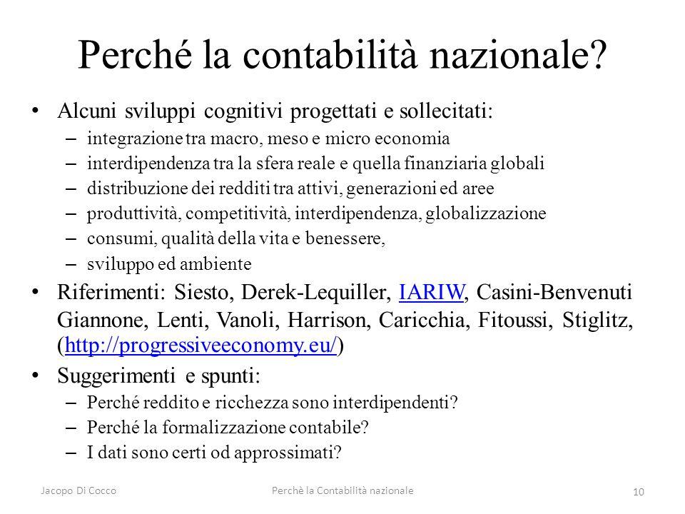 Jacopo Di CoccoPerchè la Contabilità nazionale 10 Perché la contabilità nazionale? Alcuni sviluppi cognitivi progettati e sollecitati: – integrazione