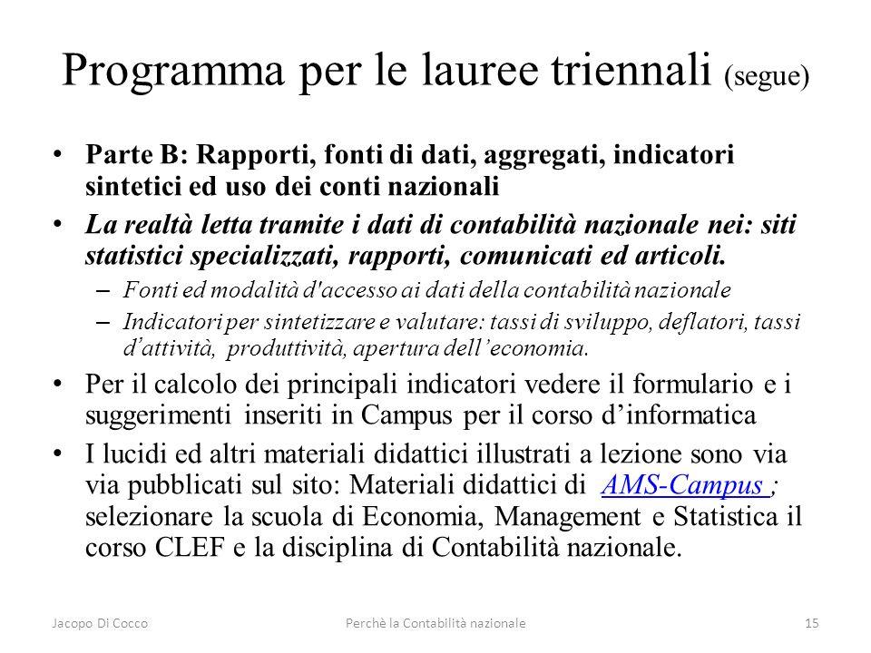 Jacopo Di CoccoPerchè la Contabilità nazionale15 Programma per le lauree triennali (segue) Parte B: Rapporti, fonti di dati, aggregati, indicatori sin