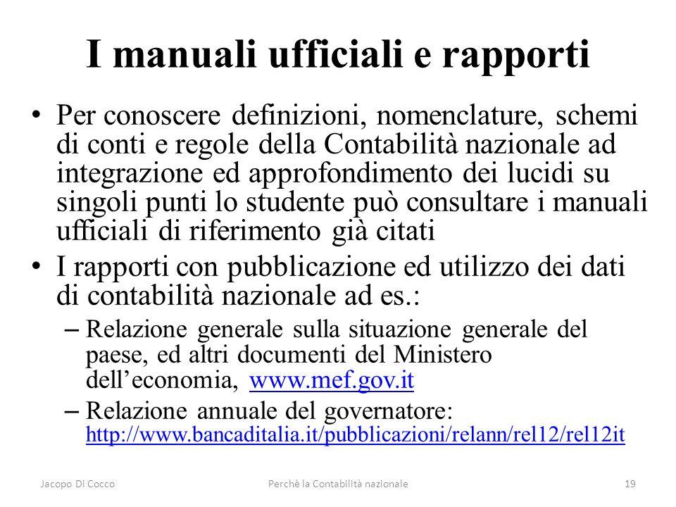 Jacopo Di CoccoPerchè la Contabilità nazionale19 I manuali ufficiali e rapporti Per conoscere definizioni, nomenclature, schemi di conti e regole dell