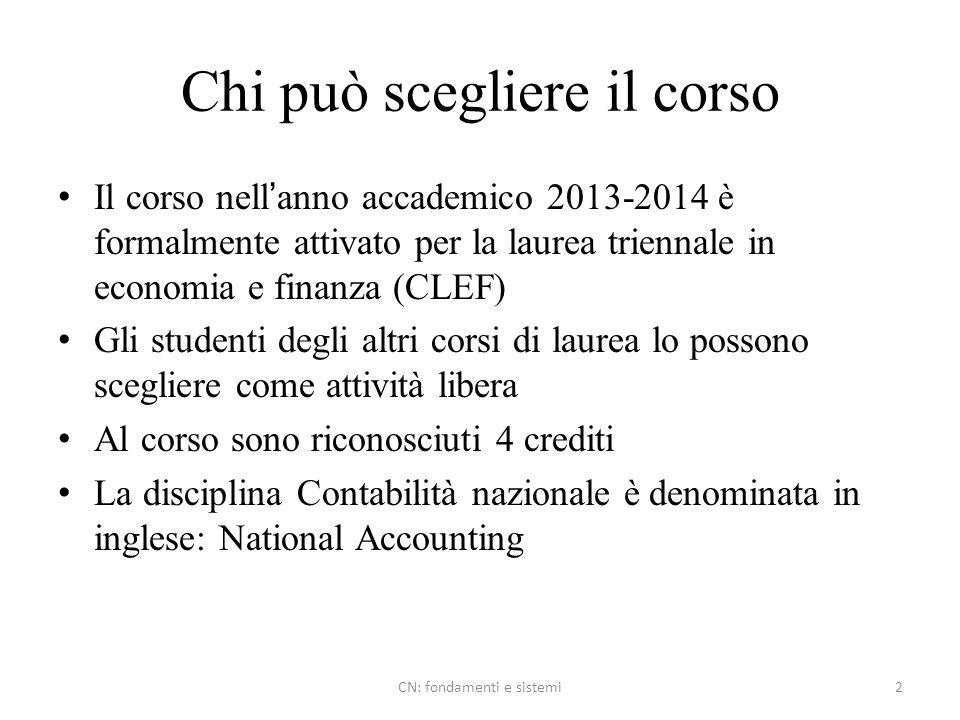 Chi può scegliere il corso Il corso nellanno accademico 2013-2014 è formalmente attivato per la laurea triennale in economia e finanza (CLEF) Gli stud