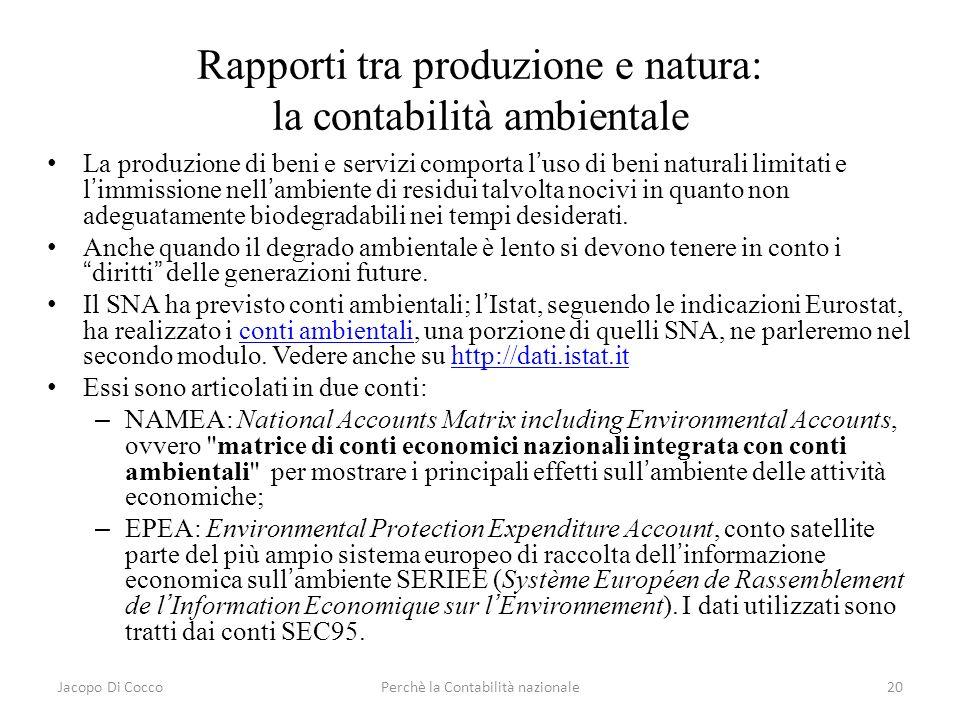 Jacopo Di CoccoPerchè la Contabilità nazionale20 Rapporti tra produzione e natura: la contabilità ambientale La produzione di beni e servizi comporta