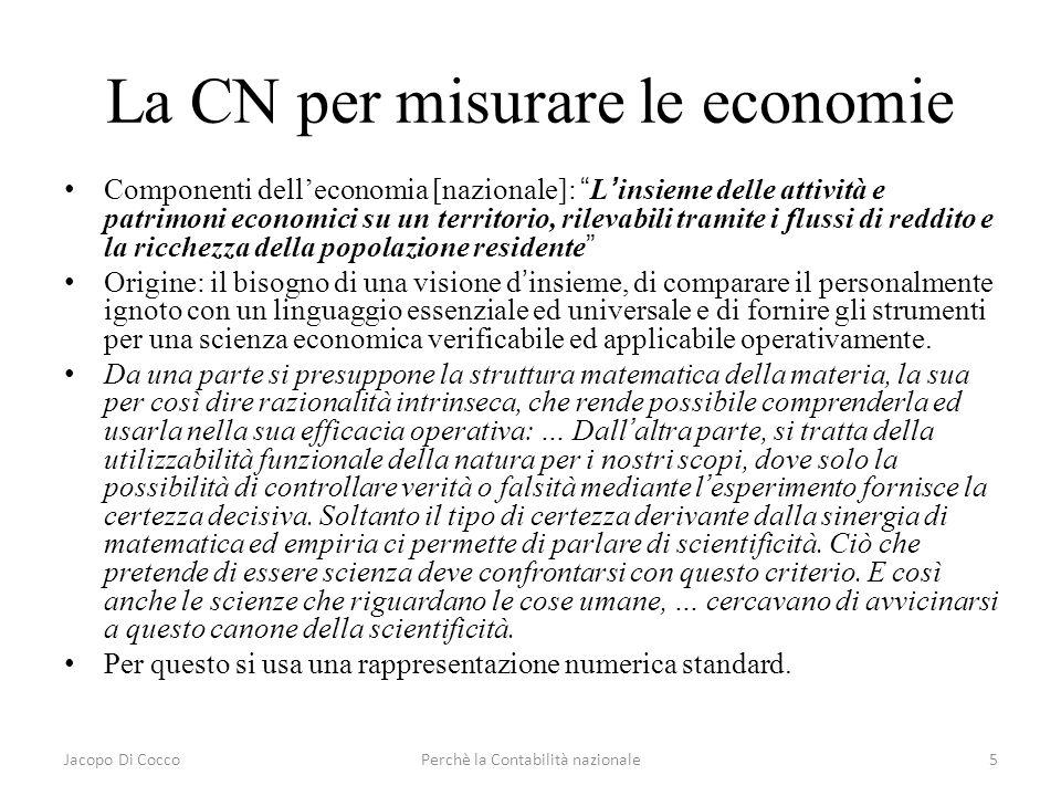 Jacopo Di CoccoPerchè la Contabilità nazionale5 La CN per misurare le economie Componenti delleconomia [nazionale]: Linsieme delle attività e patrimon