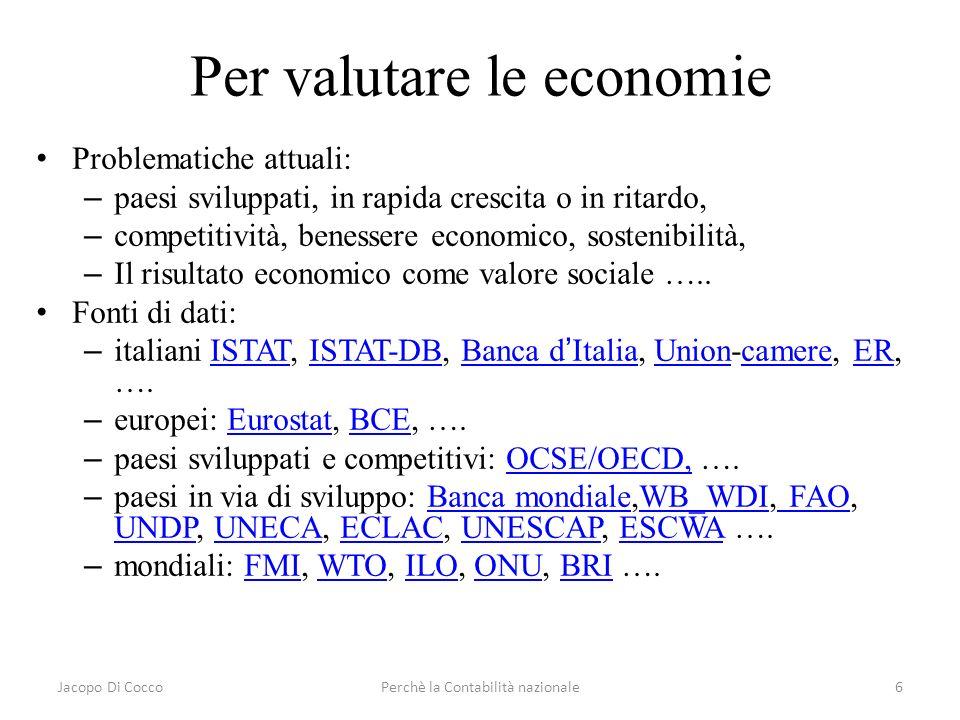 Jacopo Di CoccoPerchè la Contabilità nazionale6 Per valutare le economie Problematiche attuali: – paesi sviluppati, in rapida crescita o in ritardo, –