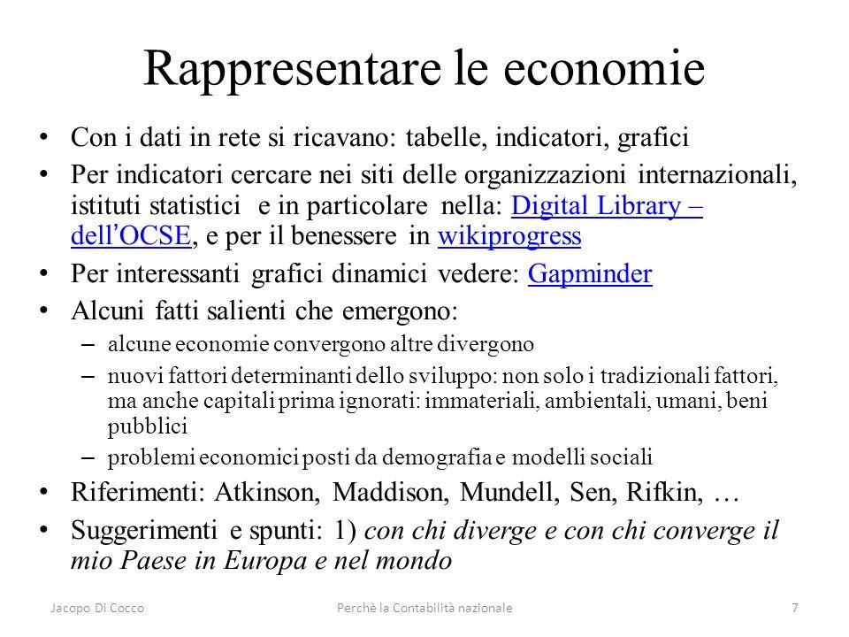 Jacopo Di CoccoPerchè la Contabilità nazionale7 Rappresentare le economie Con i dati in rete si ricavano: tabelle, indicatori, grafici Per indicatori