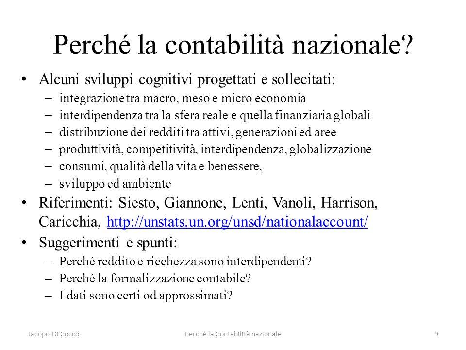 Jacopo Di CoccoPerchè la Contabilità nazionale9 Perché la contabilità nazionale? Alcuni sviluppi cognitivi progettati e sollecitati: – integrazione tr
