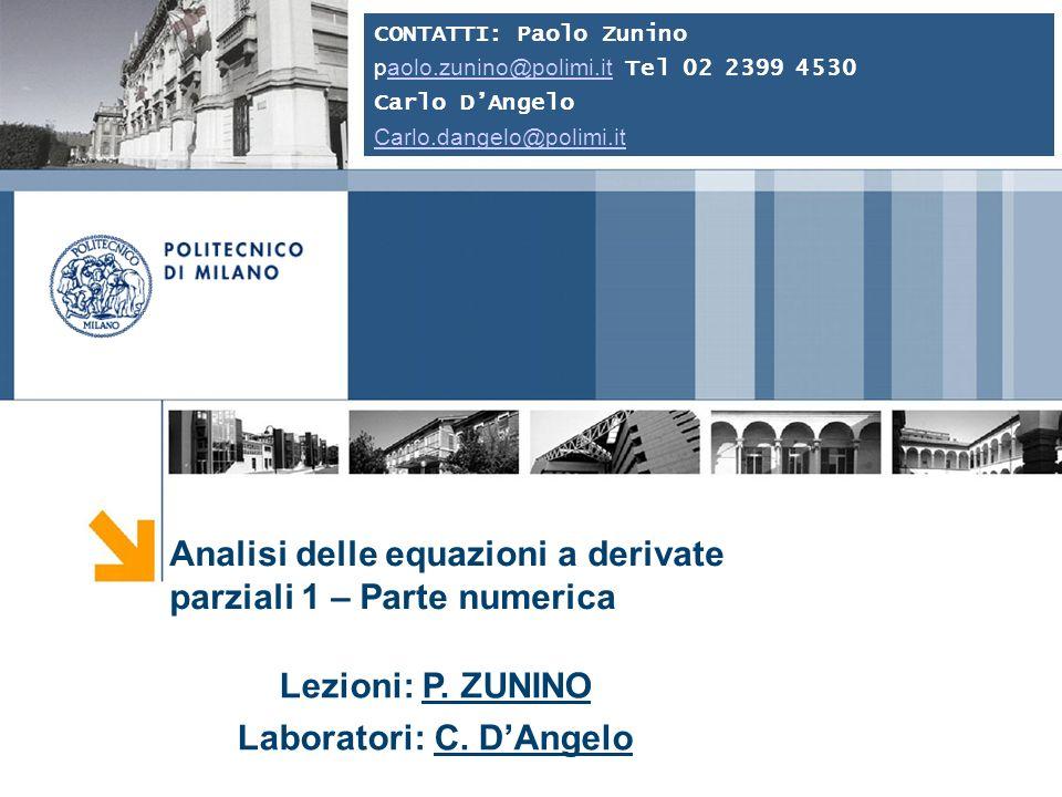 Paolo Zunino Alcune Applicazioni Soluzione numerica delle equazioni della fluidodinamica Eq.