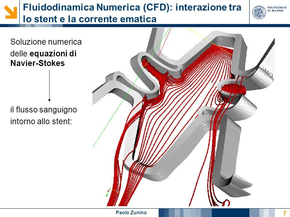 Paolo Zunino 8 Rilascio di farmaco nel lume e nella parete vascolare Legge di Darcy per la filtrazione del plasma nella parete vascolare.
