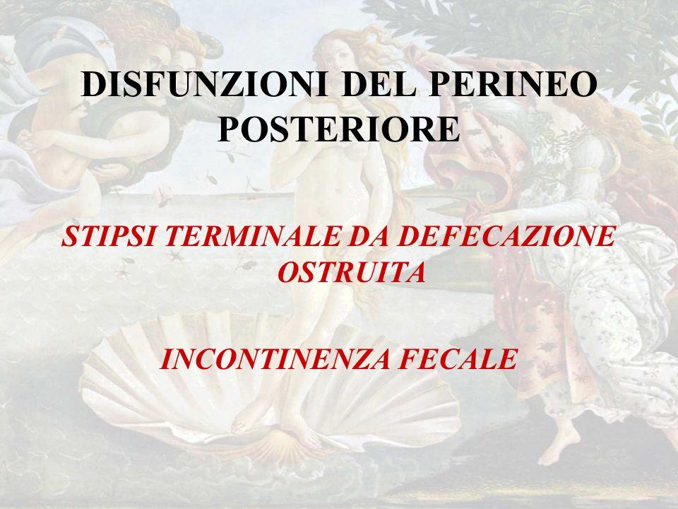 DISFUNZIONI DEL PERINEO POSTERIORE STIPSI TERMINALE DA DEFECAZIONE OSTRUITA INCONTINENZA FECALE