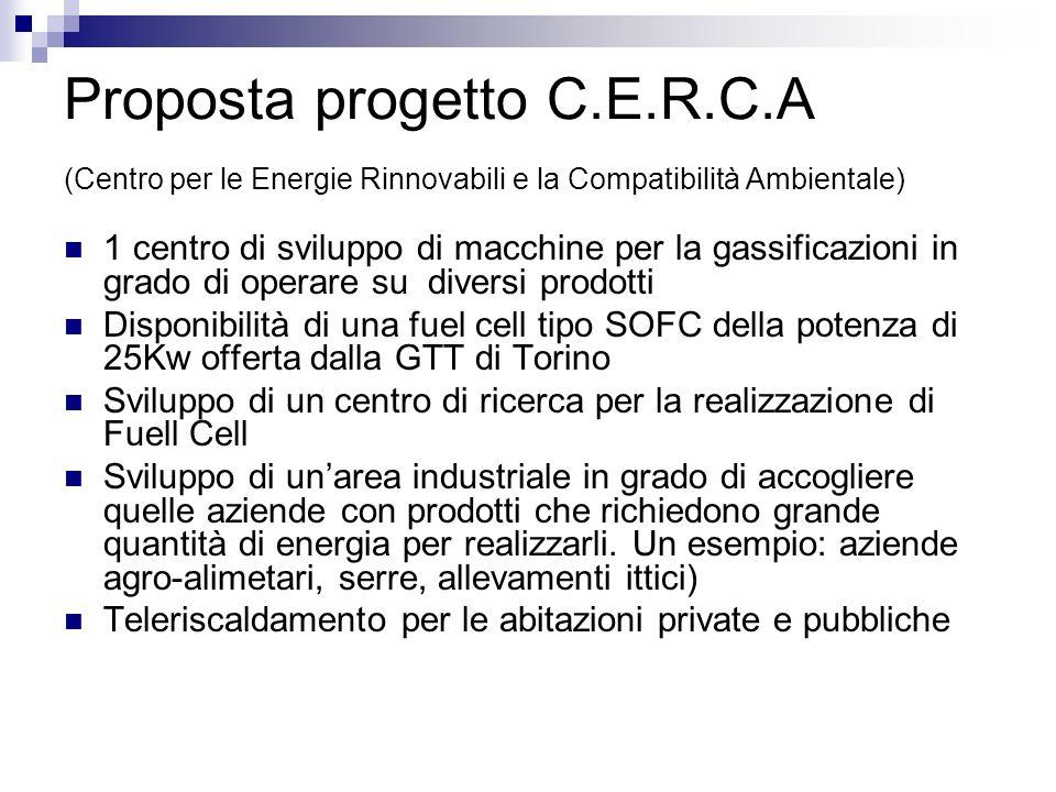 Proposta progetto C.E.R.C.A (Centro per le Energie Rinnovabili e la Compatibilità Ambientale) 1 centro di sviluppo di macchine per la gassificazioni i
