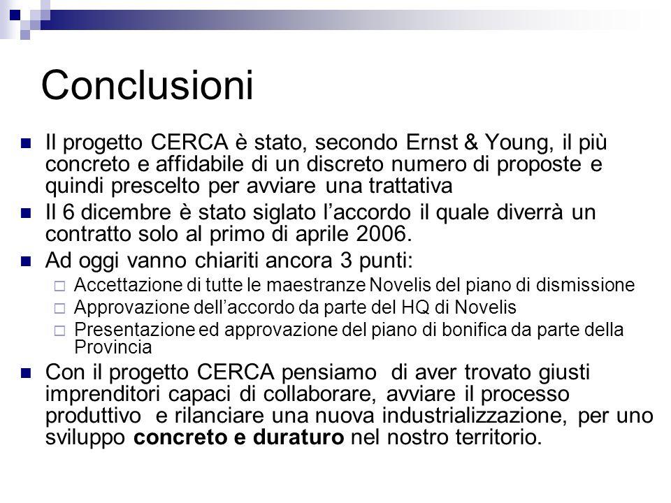Conclusioni Il progetto CERCA è stato, secondo Ernst & Young, il più concreto e affidabile di un discreto numero di proposte e quindi prescelto per avviare una trattativa Il 6 dicembre è stato siglato laccordo il quale diverrà un contratto solo al primo di aprile 2006.
