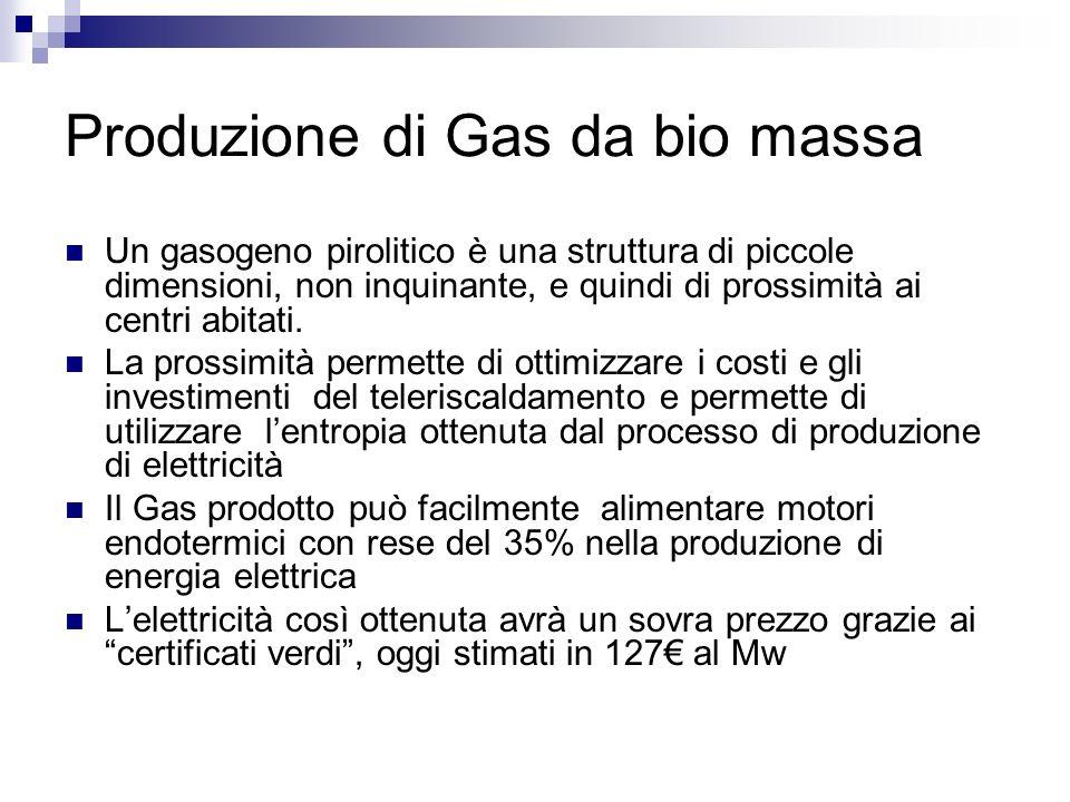 Produzione di Gas da bio massa Un gasogeno pirolitico è una struttura di piccole dimensioni, non inquinante, e quindi di prossimità ai centri abitati.