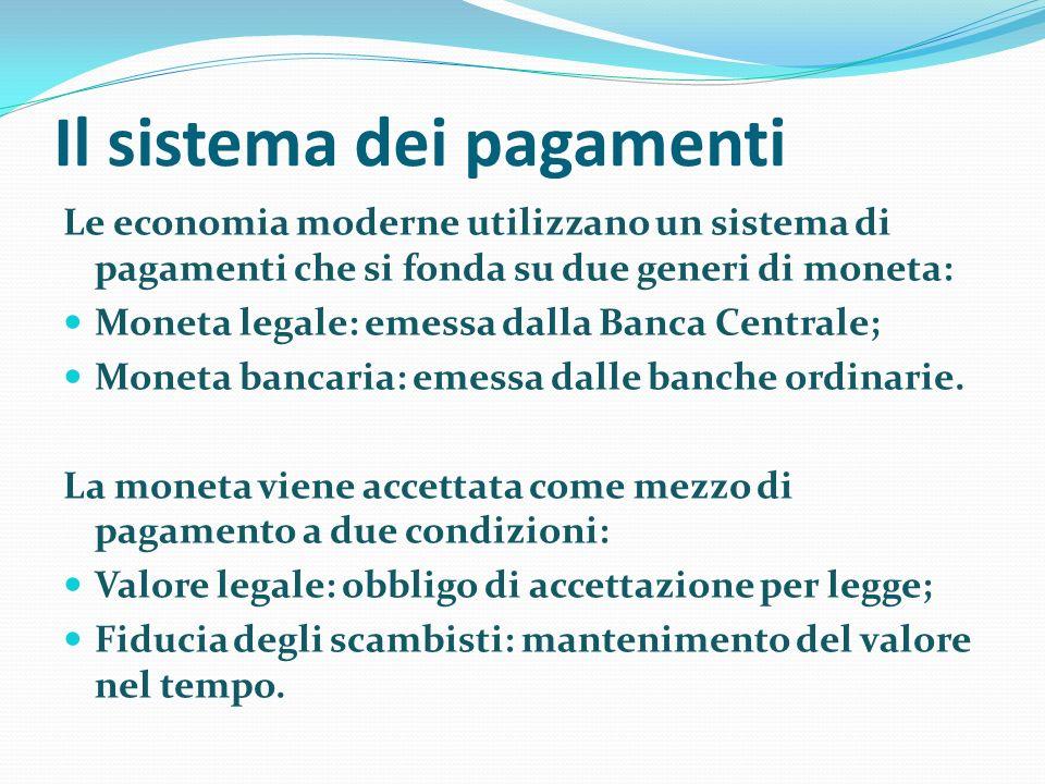 Il sistema dei pagamenti Le economia moderne utilizzano un sistema di pagamenti che si fonda su due generi di moneta: Moneta legale: emessa dalla Banca Centrale; Moneta bancaria: emessa dalle banche ordinarie.