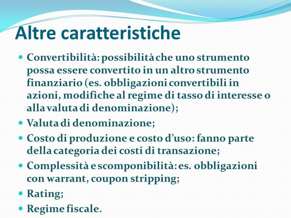 Altre caratteristiche Convertibilità: possibilità che uno strumento possa essere convertito in un altro strumento finanziario (es.