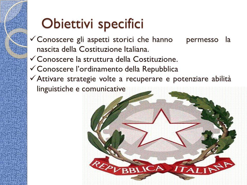 Obiettivi specifici Conoscere gli aspetti storici che hanno permesso la nascita della Costituzione Italiana. Conoscere la struttura della Costituzione