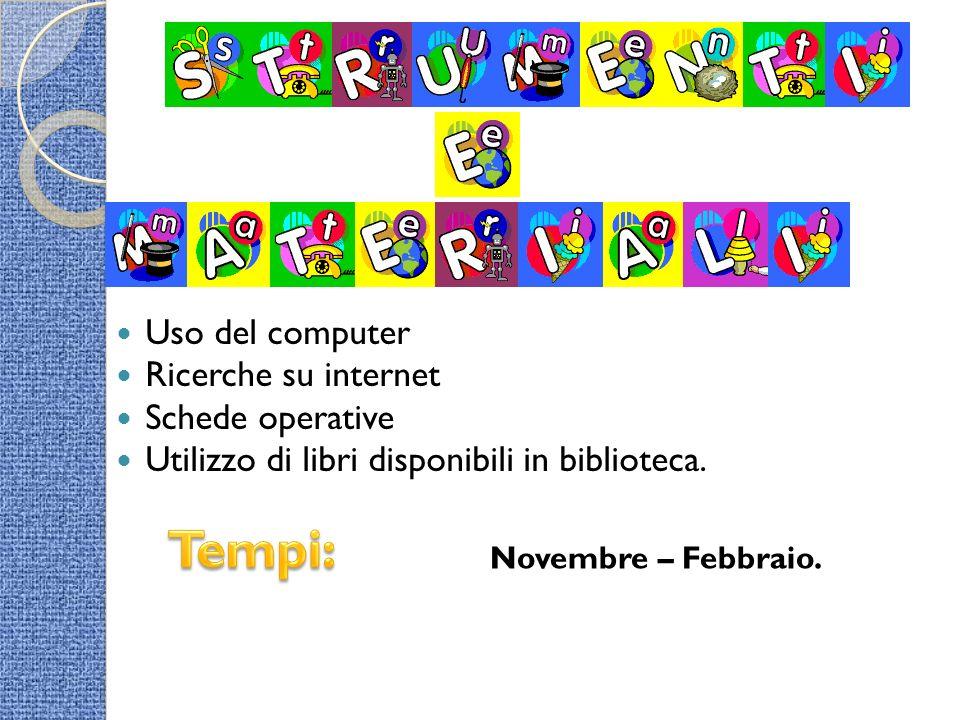 Uso del computer Ricerche su internet Schede operative Utilizzo di libri disponibili in biblioteca. Novembre – Febbraio.