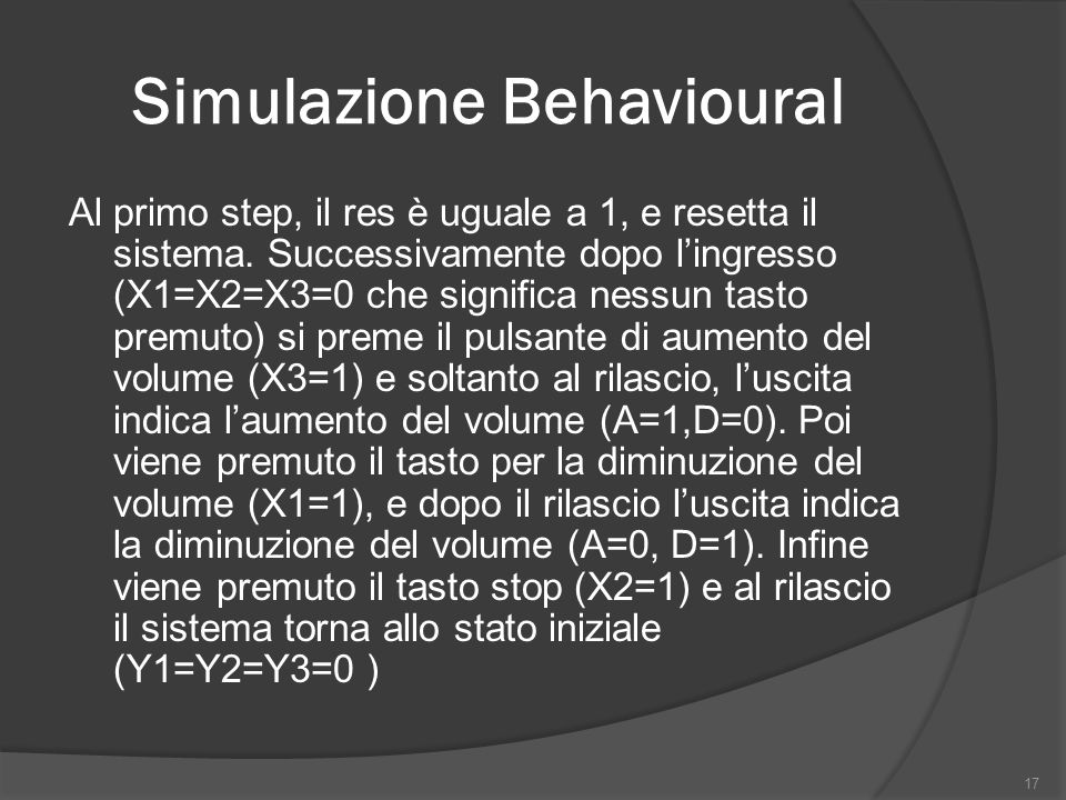 Simulazione Behavioural Al primo step, il res è uguale a 1, e resetta il sistema.