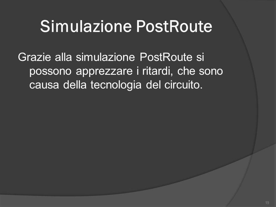 Simulazione PostRoute Grazie alla simulazione PostRoute si possono apprezzare i ritardi, che sono causa della tecnologia del circuito.