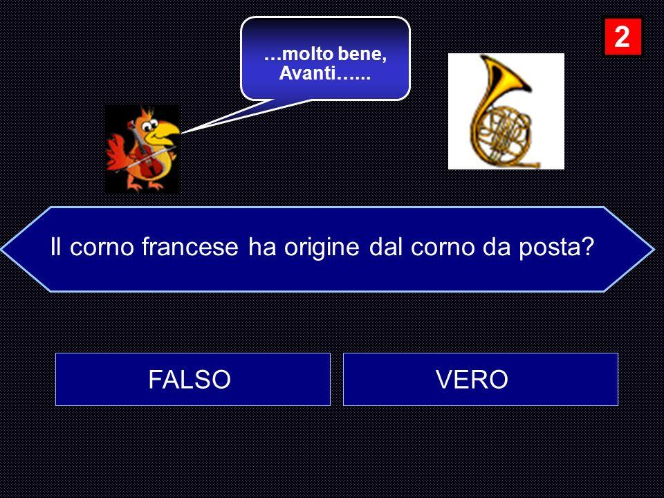 Il corno francese ha origine dal corno da posta? FALSO VERO …molto bene, Avanti…... 2