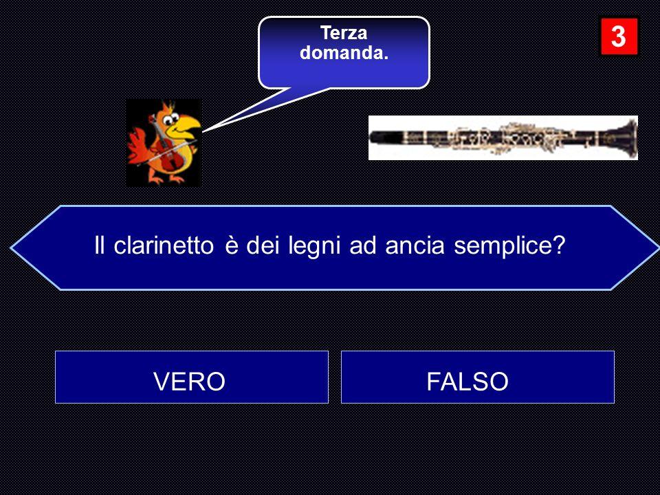 Il clarinetto è dei legni ad ancia semplice? VERO FALSO Terza domanda. 3
